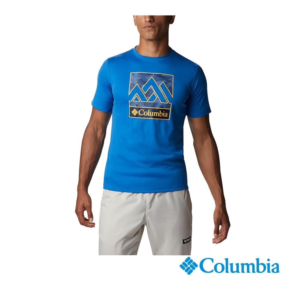 Columbia 哥倫比亞 男款- UPF30涼感快排LOGO短袖上衣- 活動款 UAE64630 (藍色)