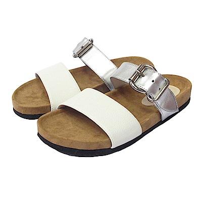 BESO 極簡時尚  質感寬帶線條平底涼拖鞋~白