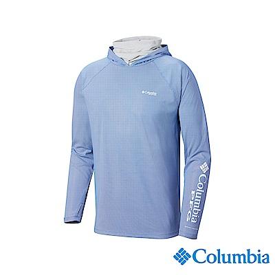 Columbia哥倫比亞男款-UPF50涼感快排抗曬連帽上衣-藍色UFE00570