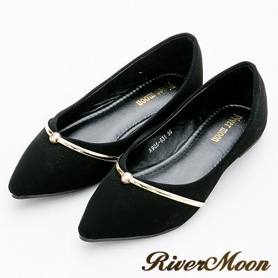 River&Moon大尺碼-都會時尚尖頭金屬環平底鞋-百搭黑