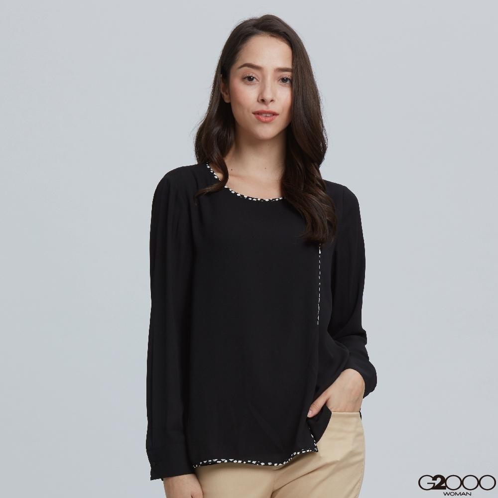 G2000素面長袖休閒上衣-黑色