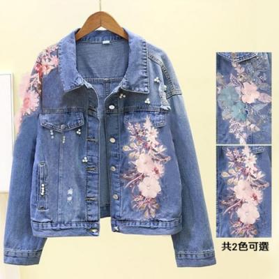【韓國K.W.】(預購) 印象奢華撞色牛仔外套(共2色)