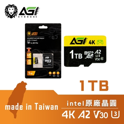 AGI 亞奇雷 microSDXC UHS-I V30 A2 U3 1TB 記憶卡 附轉卡(Made in Taiwan)