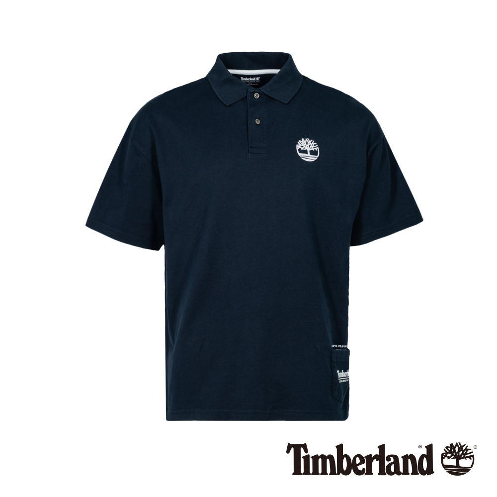 Timberland 男款深藍寶石復古防紫外線抗菌寬鬆短袖POLO衫 A1XFW