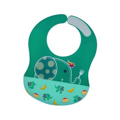 【MARCUS&MARCUS】動物樂園大口袋寬版矽膠立體圍兜-大象