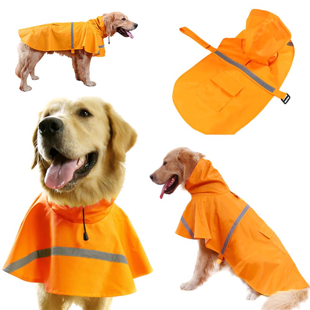 摩達客寵物系列-寵物大狗小狗透氣防水雨衣(橘色/反光條)