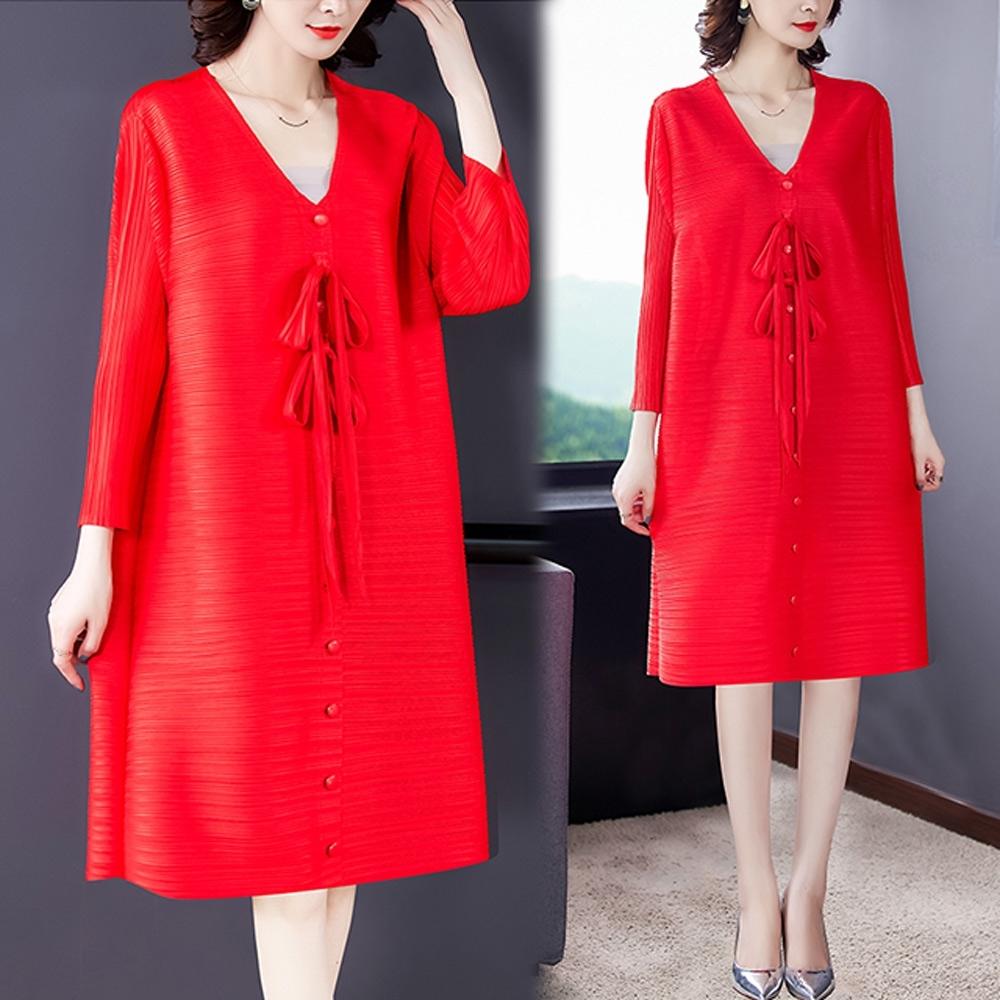 【KEITH-WILL】(預購)自在V領典雅三宅壓褶風格洋裝(共2色) (紅色系)