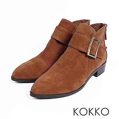 KOKKO-冬日暖意羊麂皮貼腿顯瘦短靴-大地棕