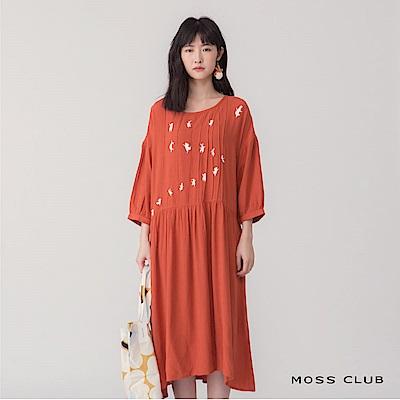 【MOSS CLUB 】跳跳兔摺紋造型長版-連身裙(共兩色)