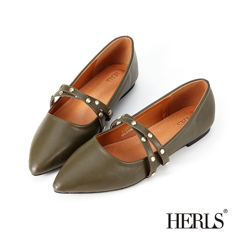 HERLS平底鞋-內真皮雙帶瑪莉珍鉚釘尖頭鞋平底鞋-墨綠色