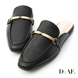 D+AF 質感風尚.金屬扭結方頭穆勒鞋*黑