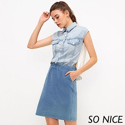 SO NICE個性牛仔拼接假兩件洋裝