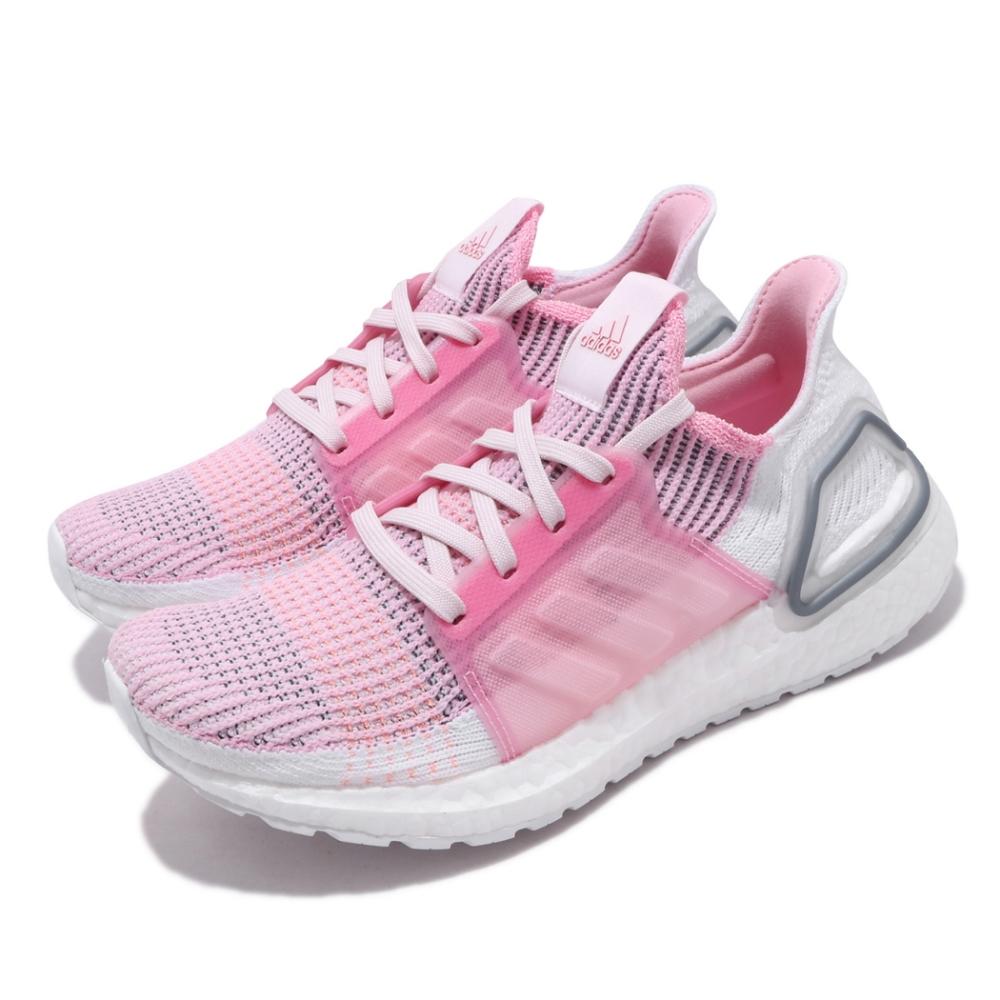 adidas 慢跑鞋 UltraBOOST 19 W 女鞋 海外限定 愛迪達 襪套 緩震 透氣 穿搭 粉 白 EF6517
