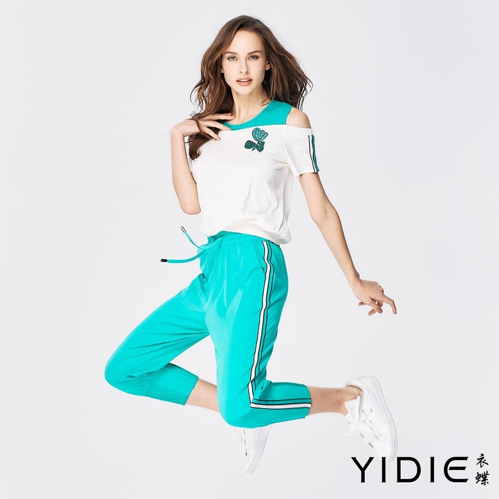 YIDIE衣蝶 綠白織帶假兩件式八分褲套裝-白/淺綠(上下分開販售)