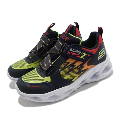 Skechers 休閒鞋 S Lights Vortex 燈鞋 童鞋 漩渦 回彈 避震 緩衝 魔鬼氈 中童 藍 白 400601-LNVMT