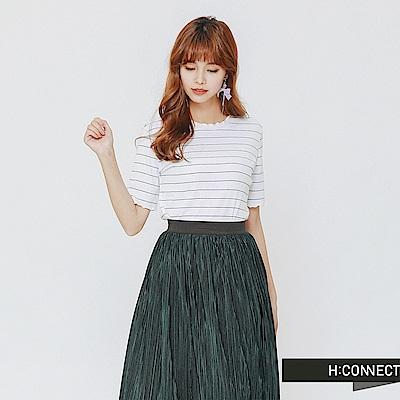 H:CONNECT 韓國品牌 女裝-隨性捲邊條紋上衣-白