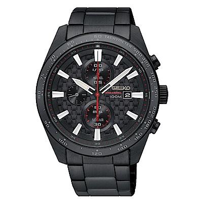 SEIKO 精工 Criteria太陽能三眼計時手錶SSC657P1-黑/42.8mm