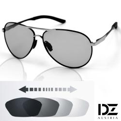 DZ 飛行風潮變色片 抗UV 防曬偏光太陽眼鏡墨鏡(黑框)
