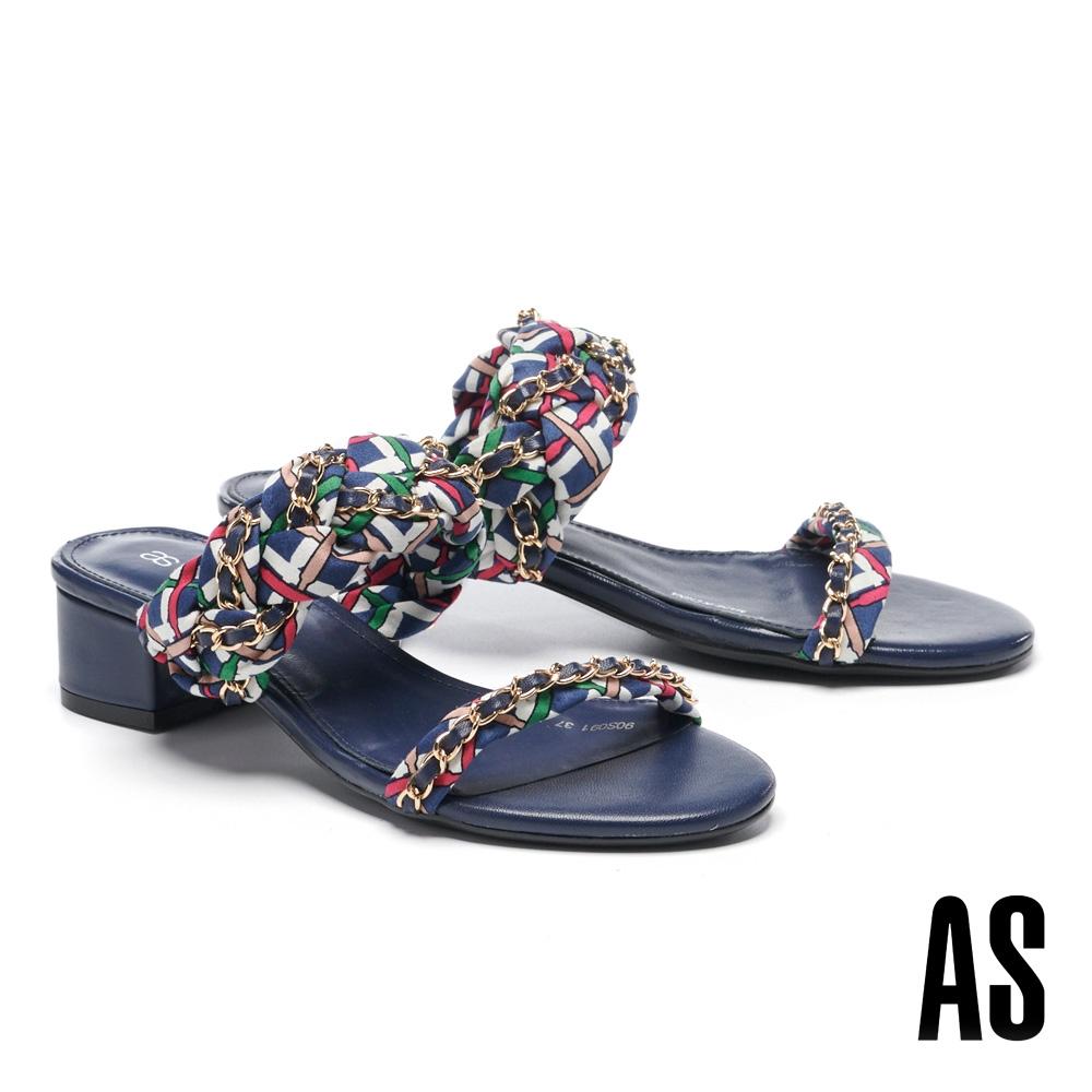 拖鞋 AS 法式優雅金屬鏈條方格布羊皮一字低跟拖鞋-藍