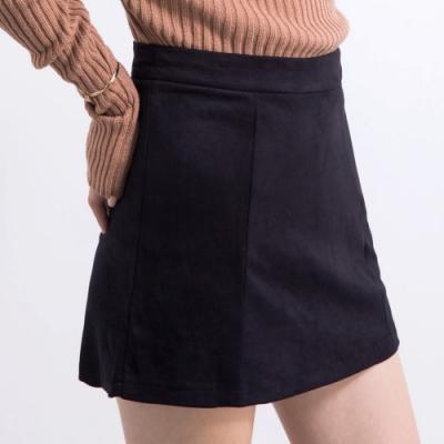 AIR SPACE 質感高腰絨布褲裙(黑)