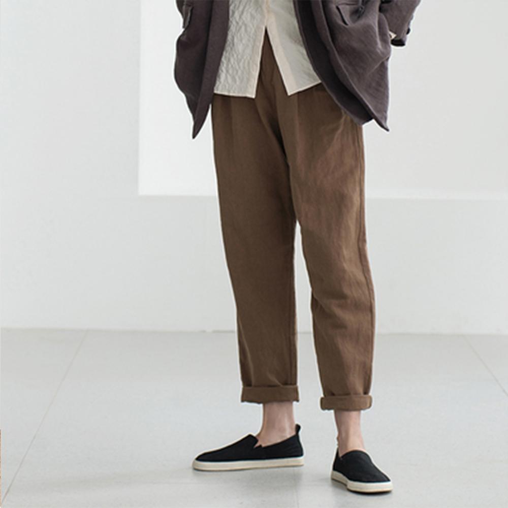 旅途原品_山月_原創設計棉麻寬鬆蘿蔔褲-咖啡