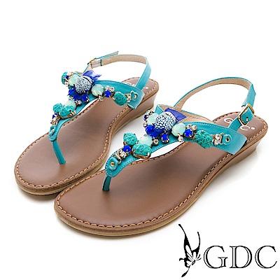 GDC-真皮夏日海洋風寶石涼鞋-藍色