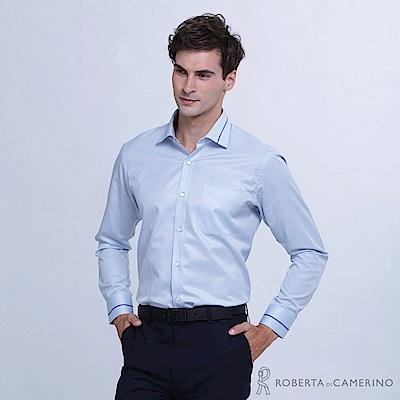 ROBERTA諾貝達 台灣製 時尚美男 合身版 長袖襯衫RDD42-32藍色