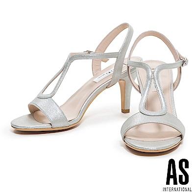 涼鞋 AS 優雅時尚性感繫帶全真皮高跟涼鞋-銀