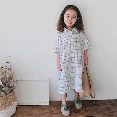 小衣衫童裝  女童日系格子短袖襯衫連身裙1080414