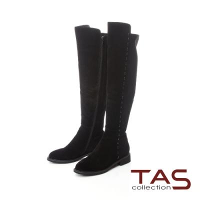 TAS前高後低異材質拼接側縫線膝上靴–時尚黑