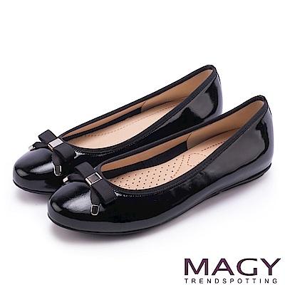 MAGY 清新女孩 氣質款蝴蝶結牛皮娃娃鞋-黑色