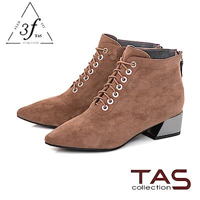 TAS質感絨布綁帶造型側拉鍊粗跟短靴-迷人卡其