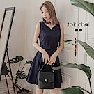 東京著衣 多色優雅美型腰帶洋裝-S.M(共二色)
