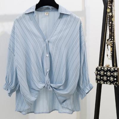 IMStyle 韓版燈籠袖寬鬆條紋襯衫【正品】