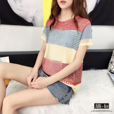 JILLI-KO 拼色鏤空針織衫 - 紫/紅