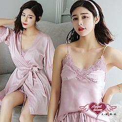 居家睡衣 秀緻雅漾 素色蕾絲三件式罩衫睡衣組(粉F) AngelHoney天使霓裳