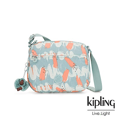 Kipling 湖水綠印象派塗鴉前後大拉練方形側背包-小-CORA S