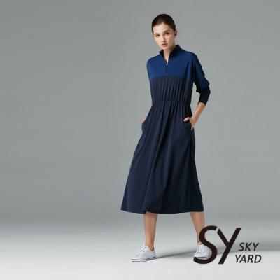 【SKY YARD 天空花園】開襟拼接收腰鬆緊帶長版洋裝-深藍