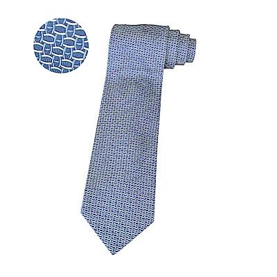 HERMES愛馬仕DROP經典緹花LOGO藍白線圈設計蠶絲領帶(藍)
