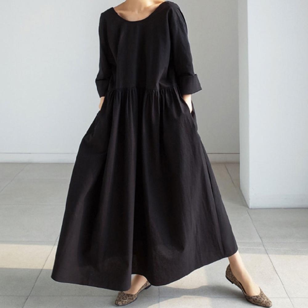 【KISSDIAMOND】寬鬆過膝打底衫休閒顯瘦洋裝(簡約/百搭/文青風/KDD-745)