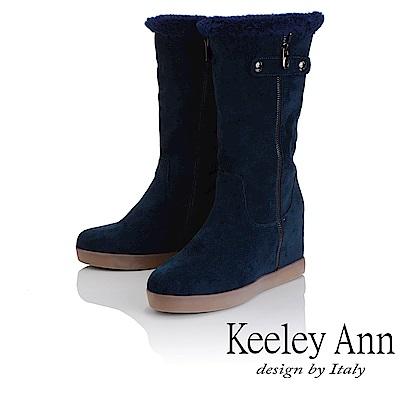 Keeley Ann 異國戀冬~素色內增高刷毛雪靴(藍色-Ann)