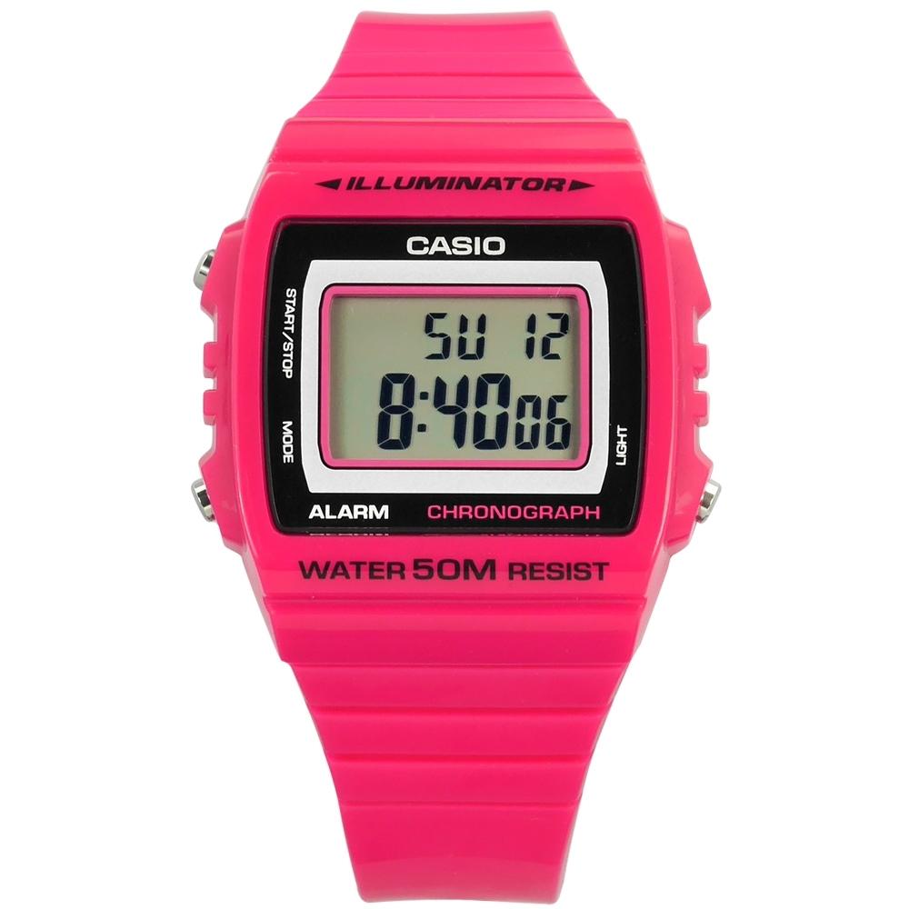 CASIO 卡西歐 計時電子 橡膠手錶-桃紅色 W-215H-4A 38m