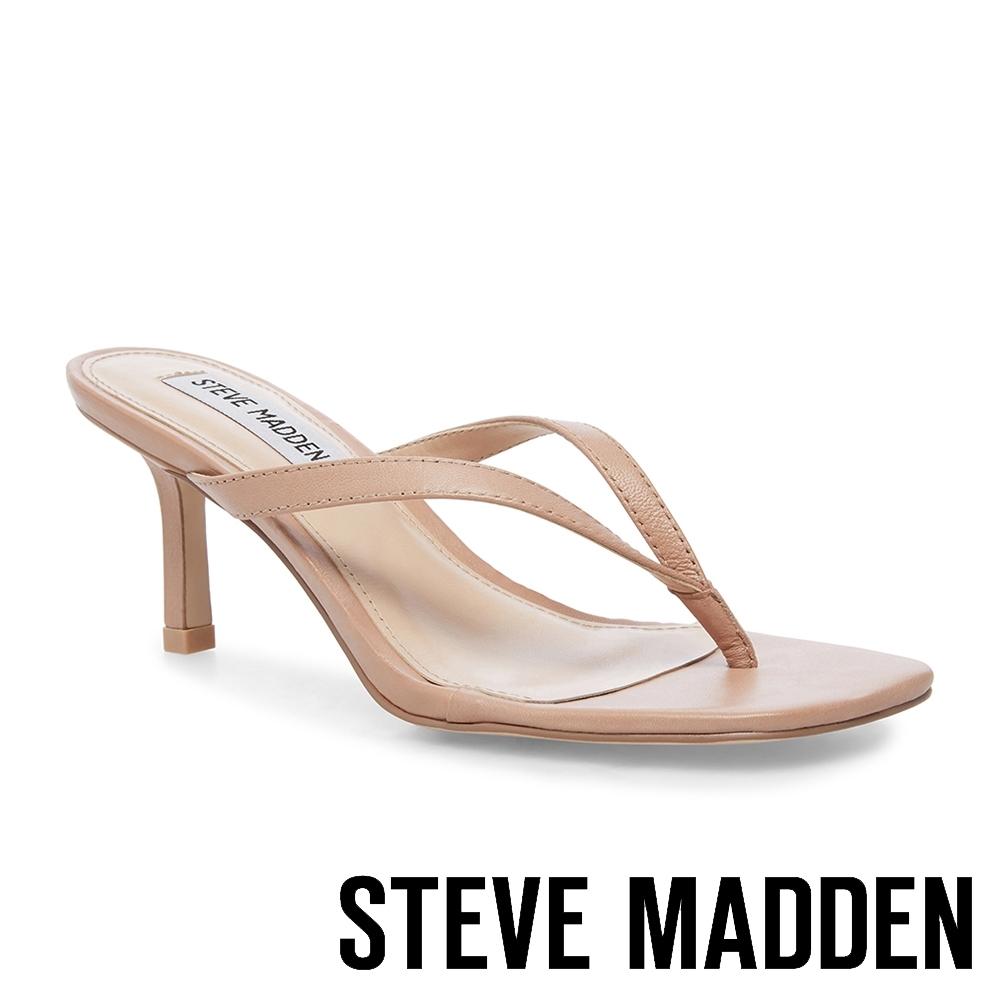 STEVE MADDEN-MELROSE 簡約質感壓紋人字細跟涼拖鞋-卡其棕
