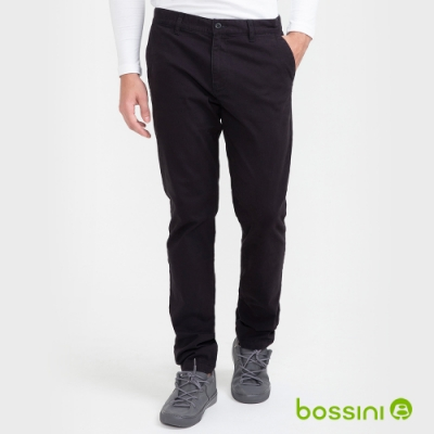 bossini男裝-彈性長褲(內磨毛)04黑