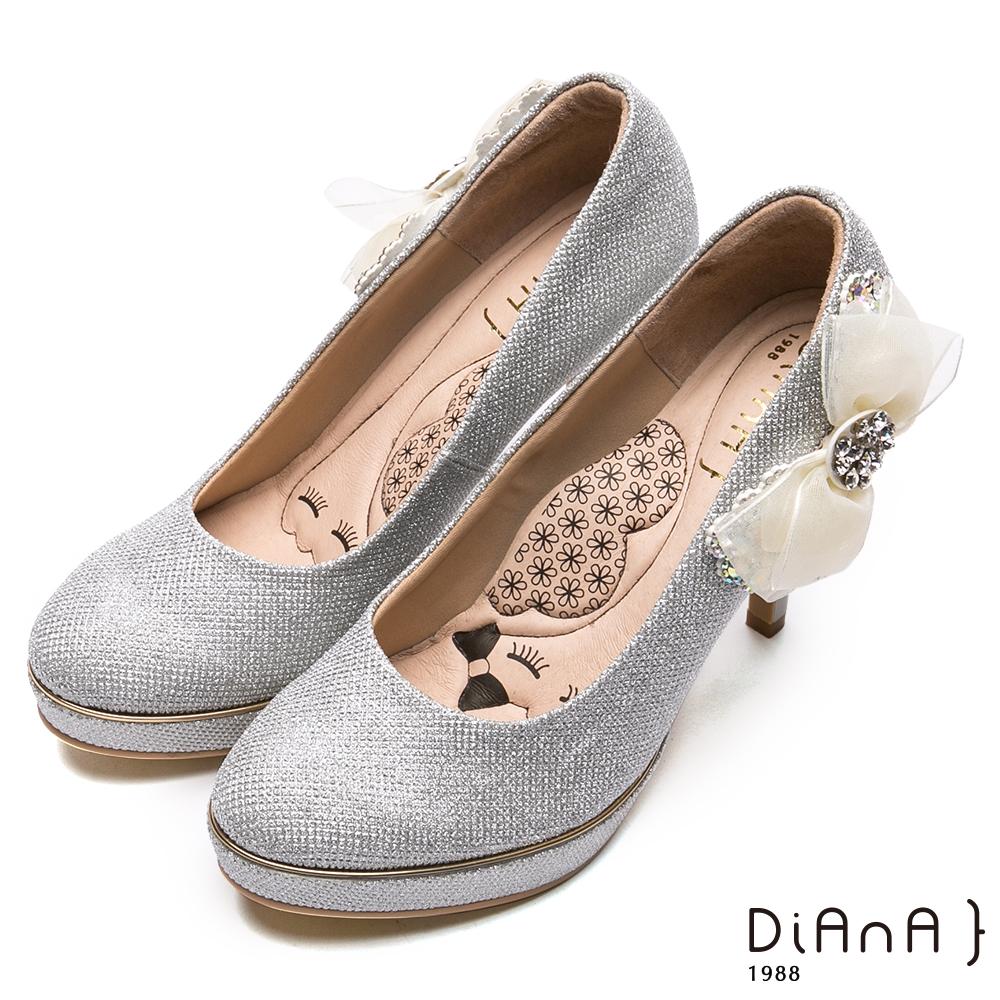 DIANA側蕾絲水鑽蝴蝶飾釦跟鞋(婚鞋推薦)-漫步雲端瞇眼美人款-白銀