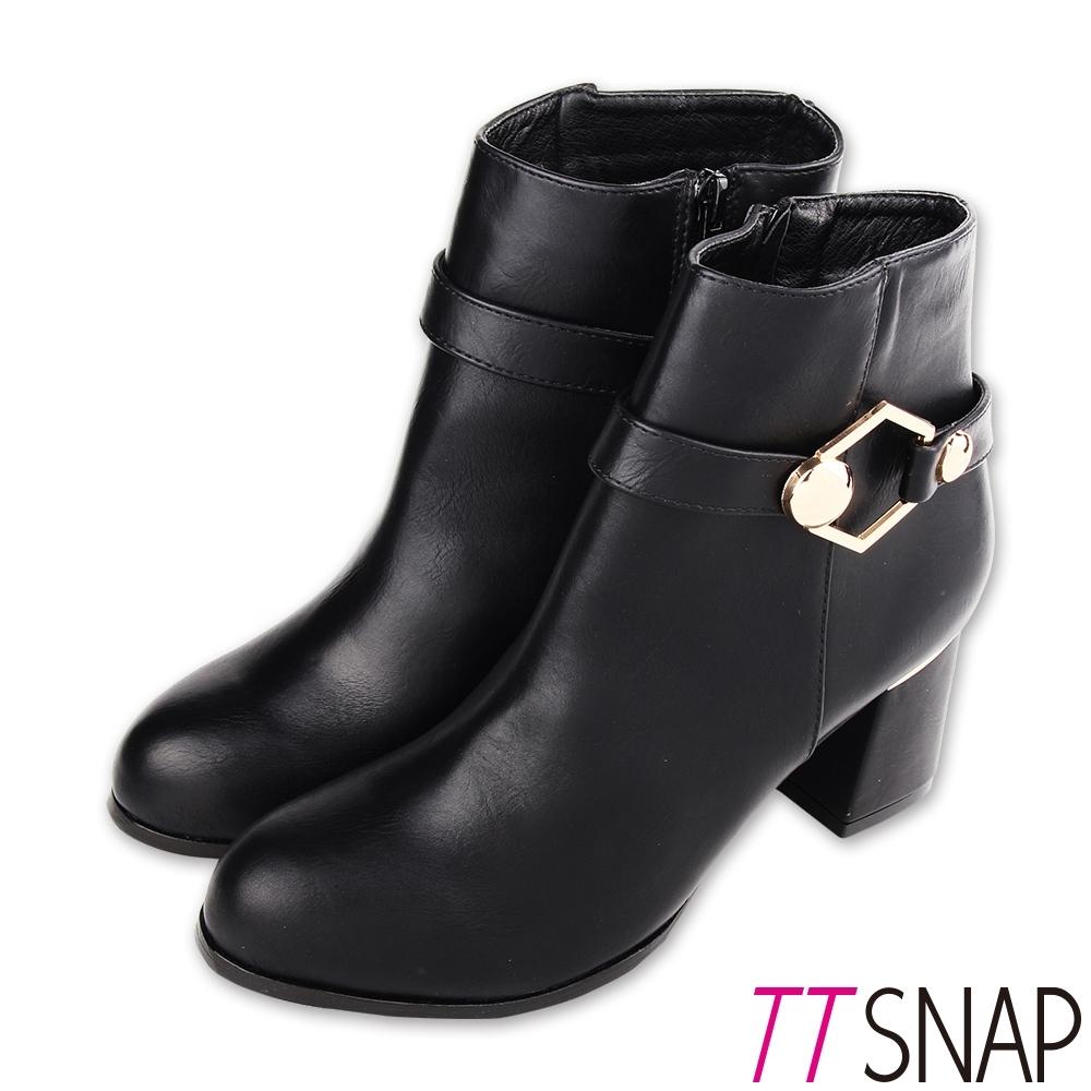 TTSNAP短靴-MIT六角金屬內裡刷毛中跟靴 黑