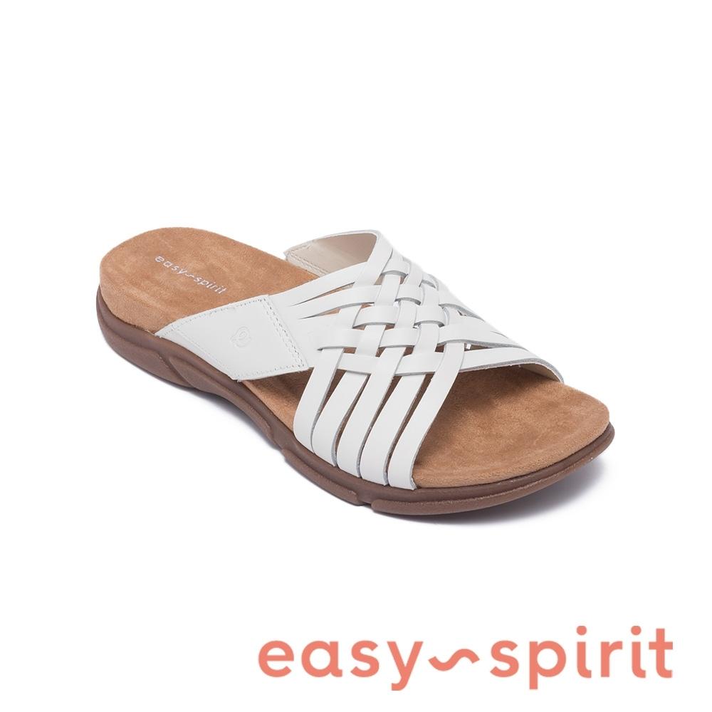 Easy Spirit-seMEADOW 天然牛皮編織拖鞋-簡約白