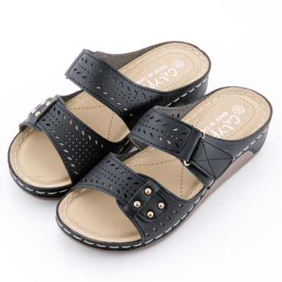 River&Moon拖鞋 經典鏤空逢線Q軟釋壓楔型跟拖鞋 黑