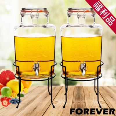 (福利品)2入組 日本FOREVER 夏天必備派對玻璃果汁飲料桶(含桶架)5L
