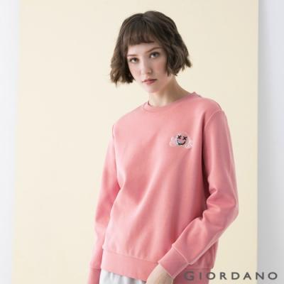 GIORDANO  女裝CHEER YOU ON大學T恤 - 42 薔薇粉紅